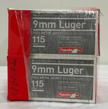 New Ammo: 8 Boxes of 9mm Luger Full Metal Jacket, 115 Grain, 400 Total Rounds