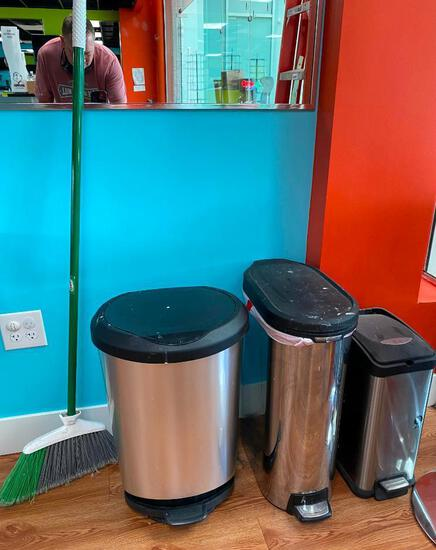 Lot of 3 Stainless Steel Trash Cans and Broom