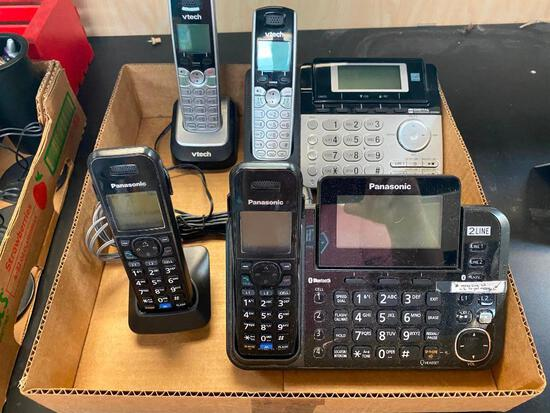 Lot of 2 Phone Systems 1 Panasonic System and 1 vtech System