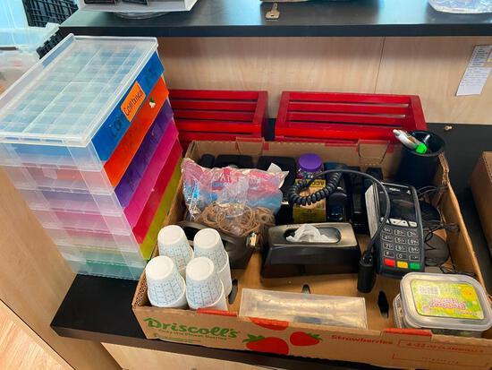 Lot of Misc. Office Supplies with ICT 250 Ingenico Card Reader