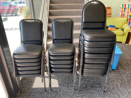 Lot of 27 Stacking Chairs, 2 Styles