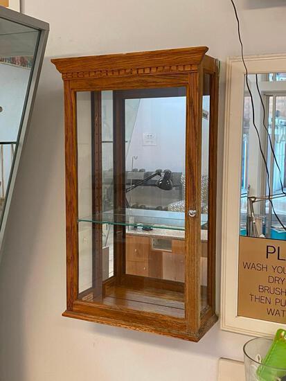 Wall Mount Glass and Wood Showcase w/ Glass Shelf