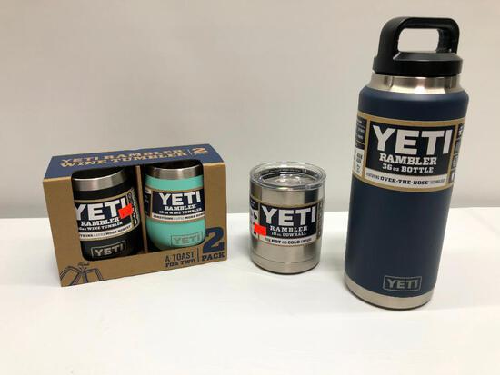 4 Items, (2) Yeti Wine Tumblers, 36oz Bottle, 10oz Lowball