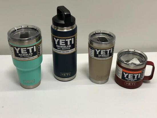 4 Items, YETI 30oz Tumbler, 20oz Tumbler, 14oz Mug & 26oz Bottle, Rambler