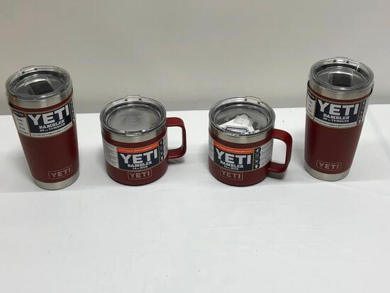4 Items, YETI Brick Red, (2) 14oz Rambler Mugs, (2) 14oz Rambler 20oz Tumblers