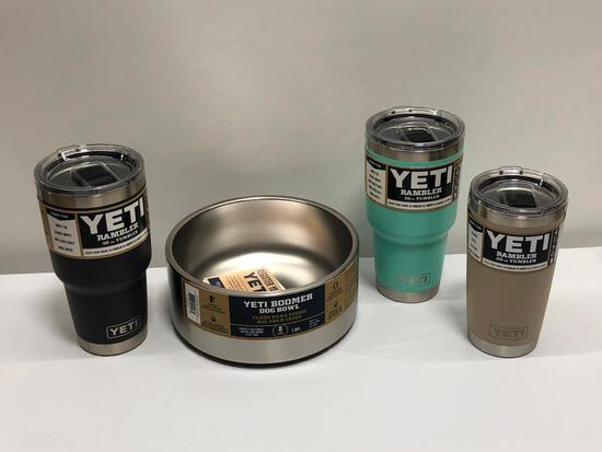 4 Items, YETI Boomer 8 Dog Bowl, (2) 30oz Tumblers, 20oz Tumbler