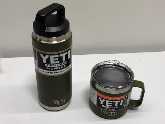 2 Items, Discontinued Olive Green Color, YETI Rambler 14oz Mug, 26oz Bottle