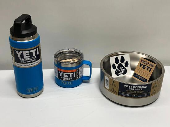 3 Items, Yeti Boomer 8 Dog Bowl Stainless Steel, Tahoe Blue 26oz Bottle, 14oz Mug
