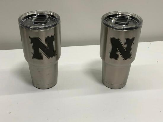 2 Items, Custom Nebraska Logo Stainless Steel Yeti 30oz Rambler Tumblers