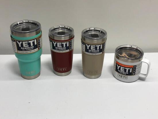 4 Items, YETI (2) 20oz Tumblers, 30oz Rambler Tumbler, 14oz Mug, 4 Colors
