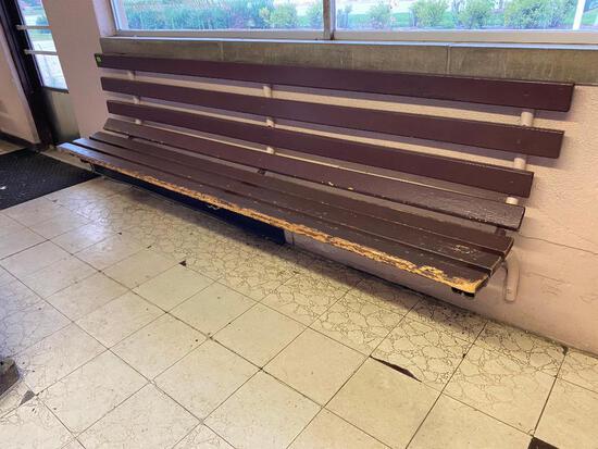 9 Feet Long Wall Mount Bench w/ Wooden Slats