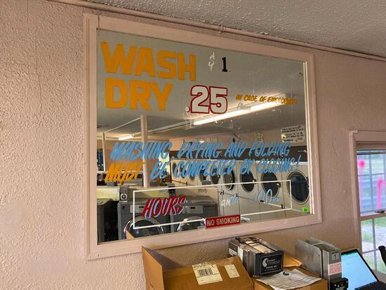 Vintage Mirror Laundromat Menu Board