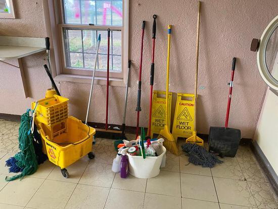 Misc. Janitorial Supplies, Mop Bucket, Brooms