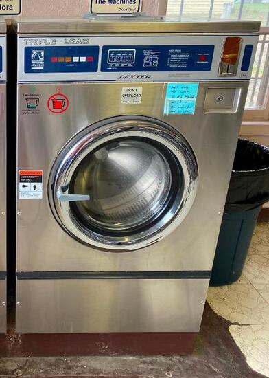 Dexter Triple Load Thoroughbred 400 Commercial Front Load Washer, Coin-Operated