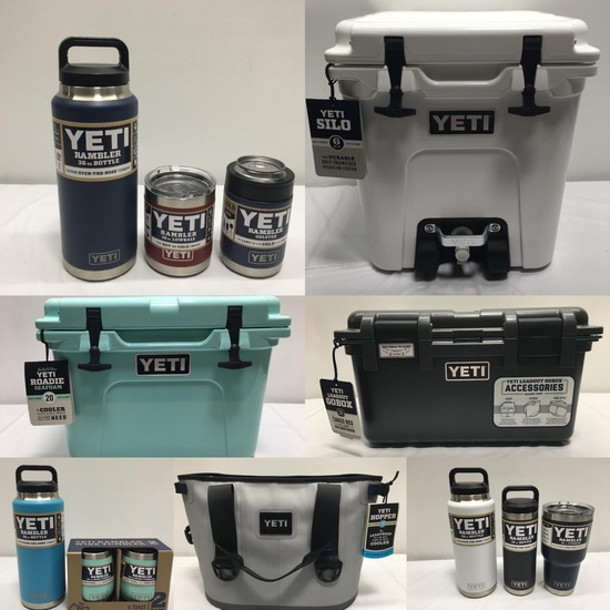 Sept 6, 90 Lots of YETI Coolers, Bottles, Tumblers