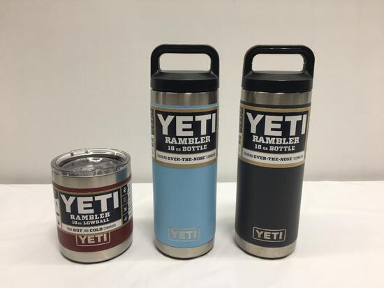 3 Items; YETI Rambler 10oz Lowball, Rambler 18oz Bottle, Brick Red, Sky Blue and Charcoal