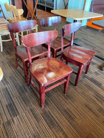 Restaurant Chairs, 4 Solid Wood Restaurant Chairs by AC Furniture Co.