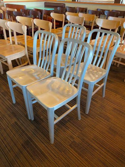 Restaurant Chairs, 4 Aircraft Aluminum Modern Chairs