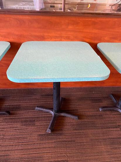 Retro Modern Restaurant Table w/ Pedestal Base, 30in x 28in x 30in