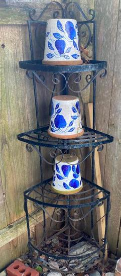 "Wrought Iron Corner Shelf w/Three Flower Pots - 57"" Tall"