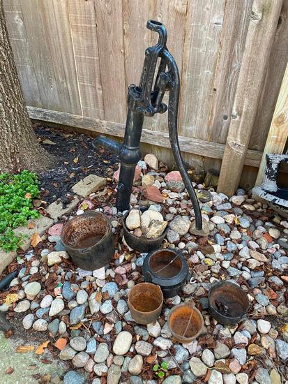 "Lot of 7 - 34"" Signed Beatrice Well Pump and 6 Cast Iron Kettles"