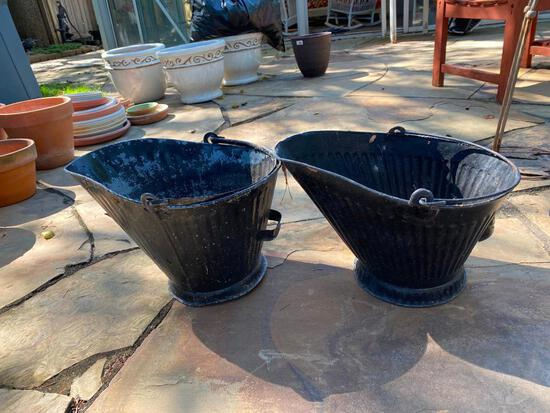2 Galvinized Ash Buckets