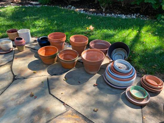 Large Group of Planters, Pots, and Bases