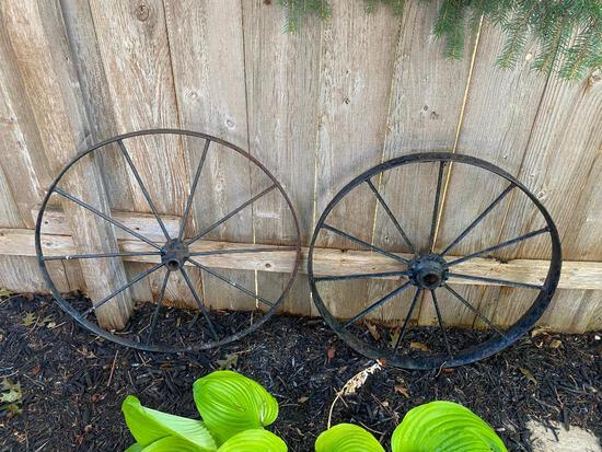 "Lot of 2 29"" Iron Wheels"
