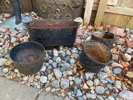 Lot of Four Cast Iron Pots - As Is