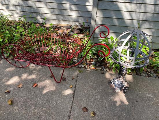 Wire Garden Cart Planter and Iron Yard D?cor Stand