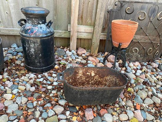 Lot of Three - Cream Can, Cast Iron Tub, and Planter