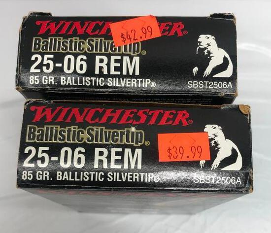 Winchester 40 Rounds 25-06 REM 85 Gr. Silver Tip