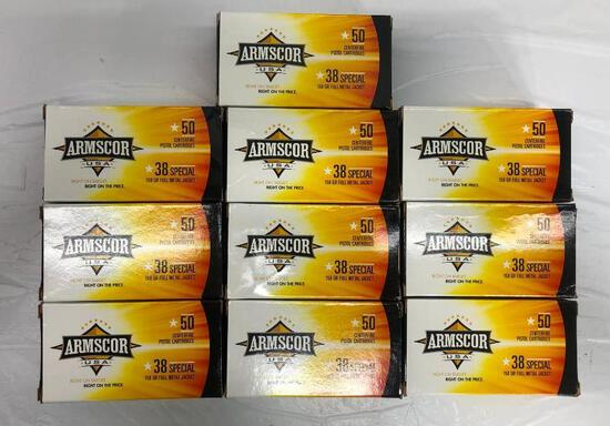500 Rounds New Armscor 38 Special 158gr FMJ, 10 Boxes of 50