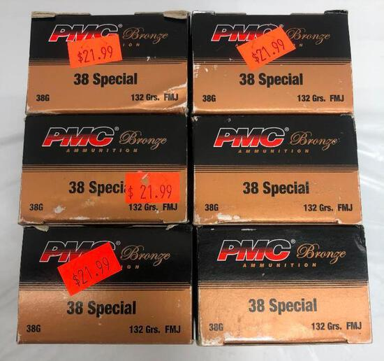 300 Rounds New PMC Bronze 38 Special, 132gr, FMJ, 6 Boxes of 50