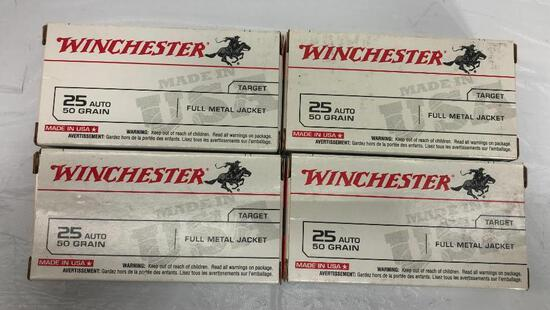 100 Rounds of Winchester 25 Auto, 50gr, FMJ, 4 Boxes of 25