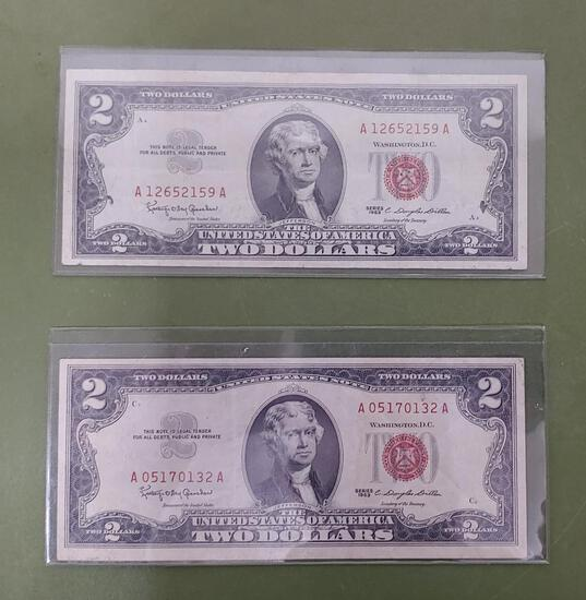 Pair of $2 bills 1963 Red Notes