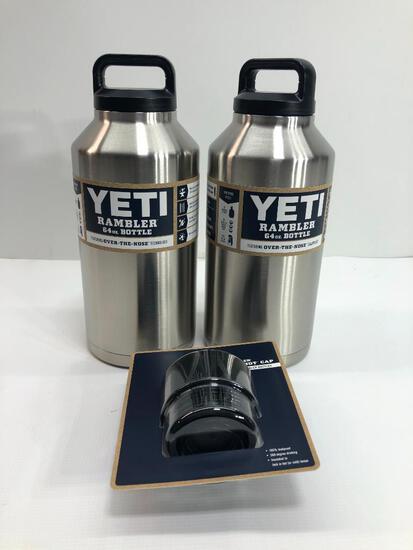 3 Items: YETI Rambler 64oz Bottle, Stainless