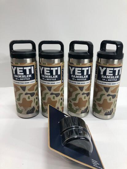 5 Items: YETI Rambler 18oz Bottle Camo, YETI Rambler Hot Shot Cap, Fits all Rambler Bottles