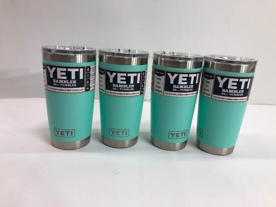 4 Items: YETI Rambler 20oz Tumbler, Seafoam