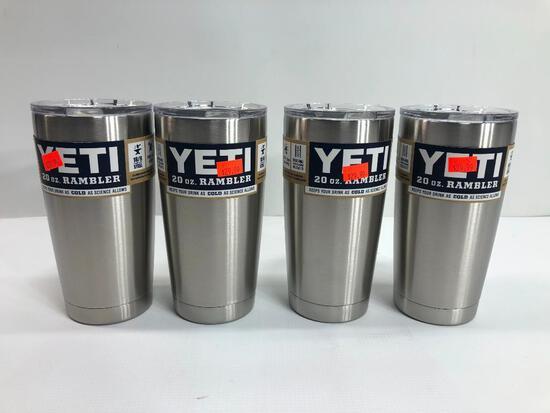4 Items: YETI Rambler 20oz Tumbler, Stainless