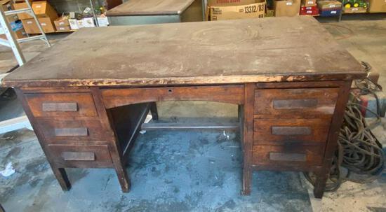 Vintage Wooden Desk, Solid Oak, Dovetailed Drawers, Center Drawer