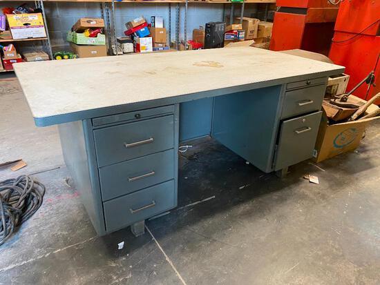 Vintage Metal Desk, 6 Drawers, 1 Typewriter Pull Out Board, Formica Top