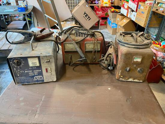 Lot of 3 Vintage Battery Chargers w/ Dual Cable Extensions, 3 Fire Extinguishers