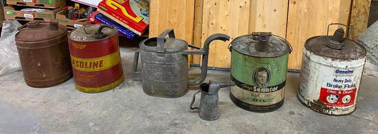 Lot of Fuel Cans, Some Advertising, 2 Galvanized Cans