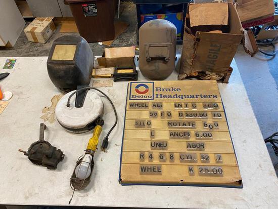 Delco Brake Headquarters Price Board, 2 Welding Helmets, Trouble Light