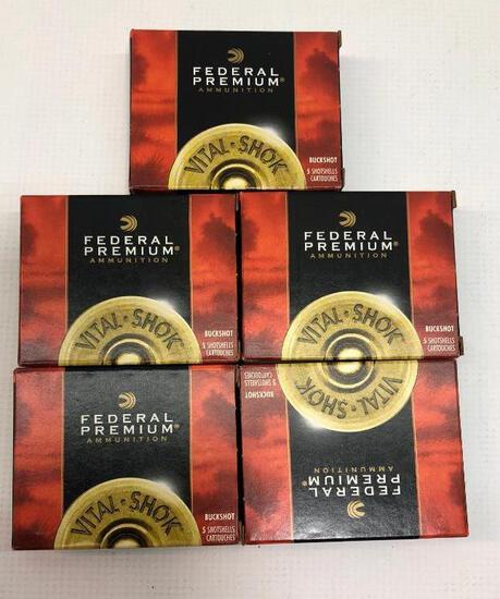 Federal Premium 20GA 3 Inch Buckshot Magnum Copper Plated - 5 Boxes, 25 Total Rounds