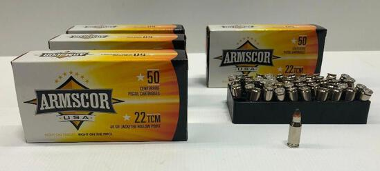 Armscor USA 40gr 22 TCM Jacketed Hollow Point - 4 Boxes, 200 Total Rounds