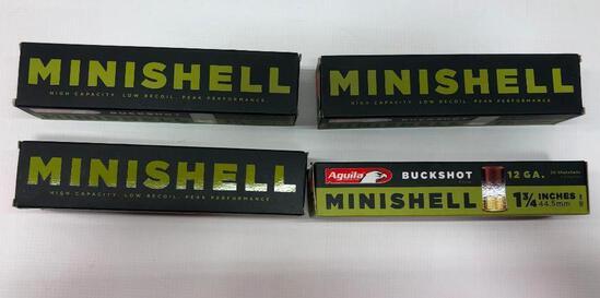 Aguila Buckshot Minishell 12 GA. 1 3/4 Inches - 4 Boxes, 80 Total Shells