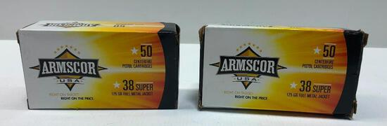 Armscor USA 38 Super 125gr Full Metal Jacket - 2 Boxes, 100 Total Rounds