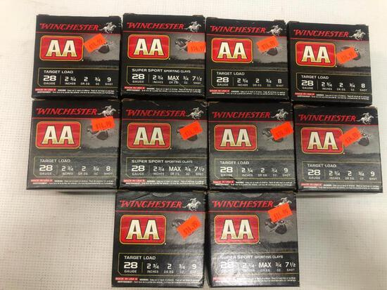 Winchester AA 28ga 2 3/4 Inch 8 Shot Super Sport Shells - 10 Boxes, 250 Total Shells